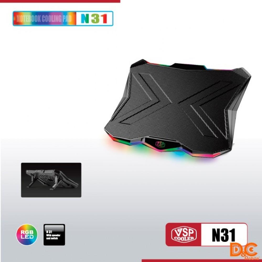 Fan -  Laptop VSP Cooler N31 LED RGB