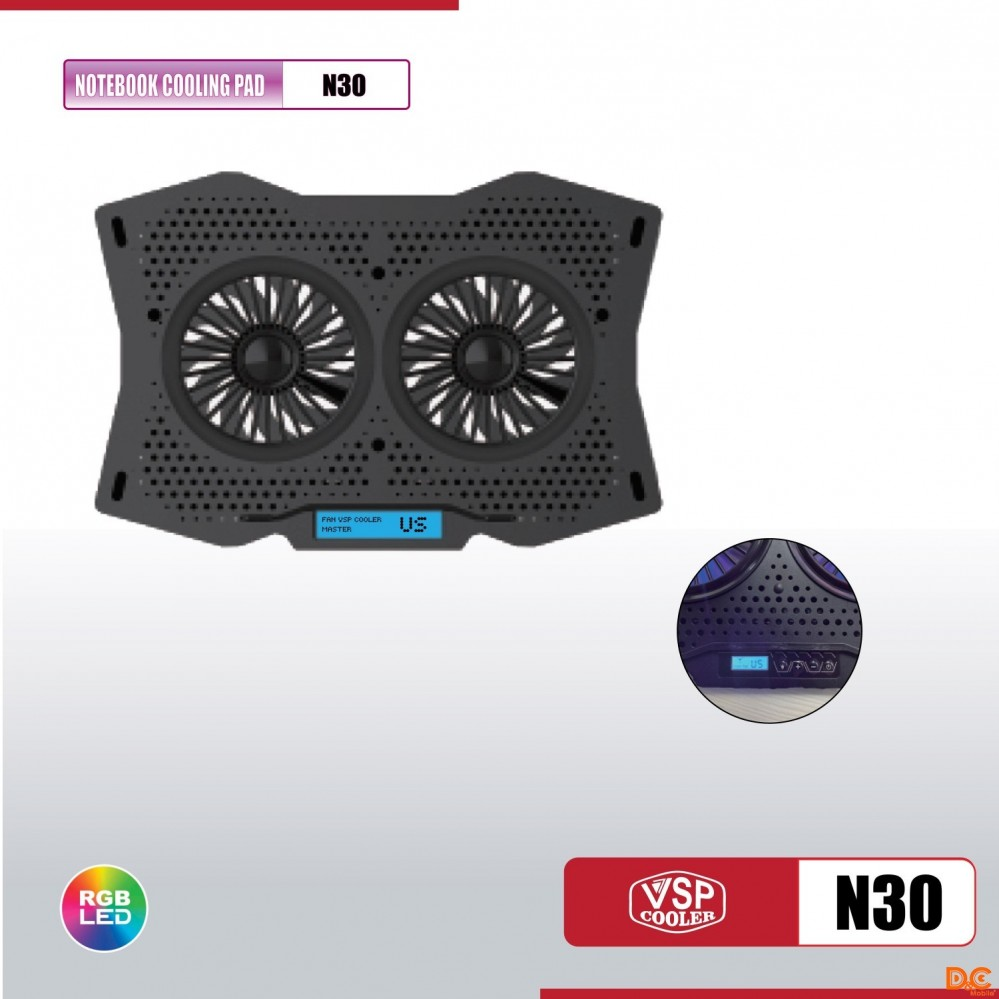 Fan -  Laptop VSP Cooler  N30 LED RGB